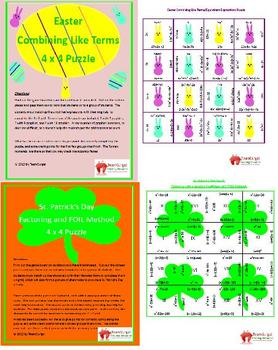 Algebra Year Long Activities Bundle Including Holiday and