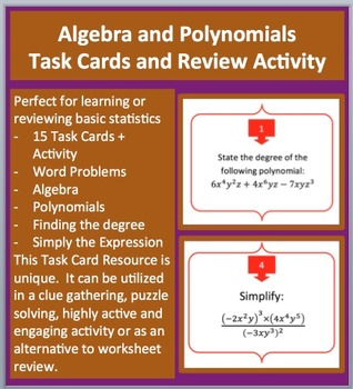 Algebra and Polynomials Task Cards and UNIQUE Activity