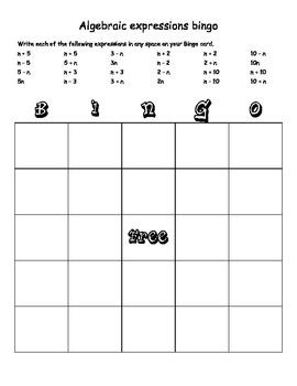 Algebraic Expressions Bingo