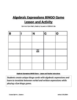 Algebraic Expressions Bingo Game Lesson and Activity