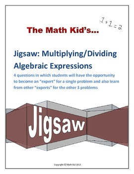 Algebraic Expressions Multiplication and Division: Jigsaw