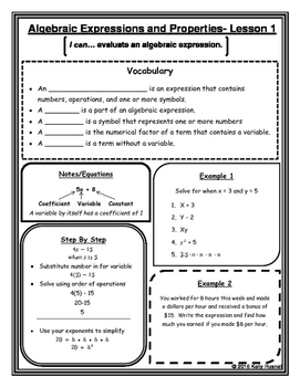 Algebraic Expressions and Properties Notes