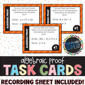 Algebraic Proofs Task Cards; Geometry, Algebra