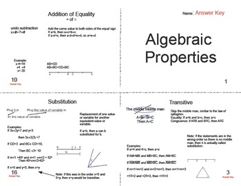 Algebraic Properties Foldable Booklet