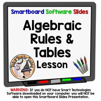 Algebraic Rules and Tables Algebra Smartboard Math Lesson