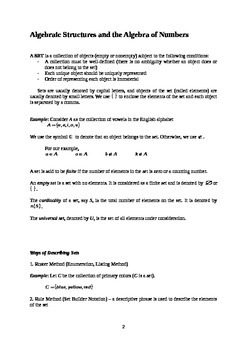 Algebraic Structures and the Algebra of Numbers (Handout /