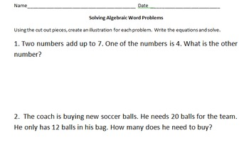 Algebraic Word Problems 6-7th
