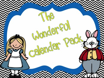 Alice in Wonderland Chevron Calendar Set