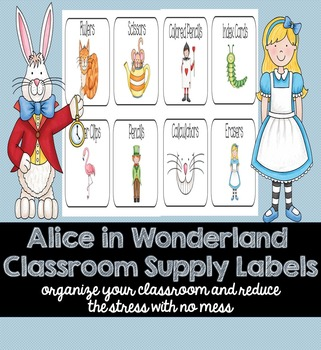 Alice in Wonderland Classroom Supply Labels