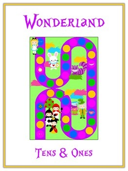 Alice in Wonderland Math Folder Game - Common Core - Tens