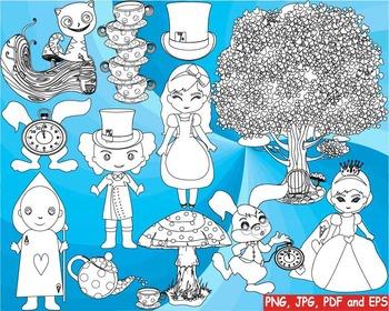 Alice in Wonderland Outline Clip art black shape coloring