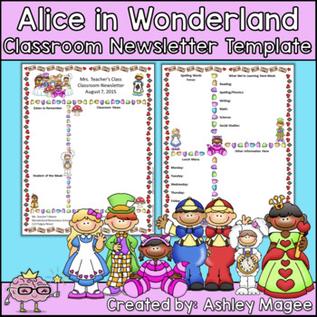 Alice in Wonderland and Friends Editable Classroom Newslet
