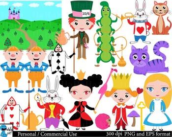Alice's Adventures in Wonderland color 1 Digital Clip Art