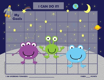 Alien Behavior Chart for Stickers or Checkmarks, For Boys