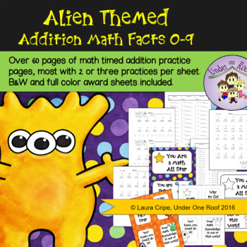 Alien Themed Addition Fact Practice: 0 - 9