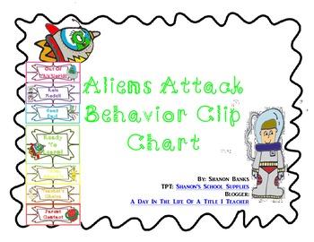 Alien Themed Behavior Clip Chart