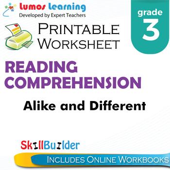 Alike and Different Printable Worksheet, Grade 3