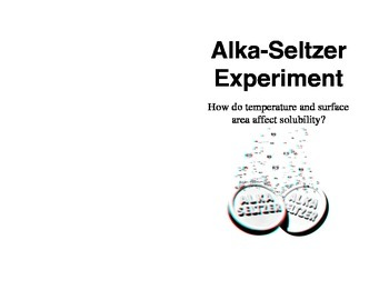 Alka-Seltzer and Solubility Rates Lab for Interactive Scie