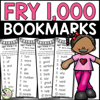 All 1,000 Fry Words on Mastery Bookmarks