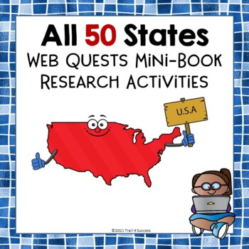 All 50 States Webquest Bundle Mini Book Activities Common Core