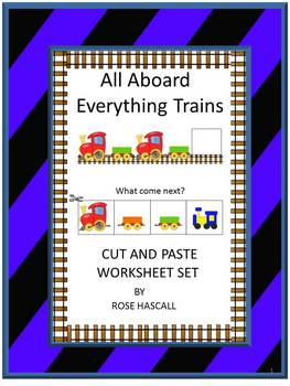 Trains Cut and Paste No PREP Printables for Math and Liter