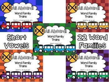 All Aboard (Short Vowel) Word Family Trains- BUNDLE