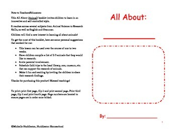 All About Animals Lesson Booklet