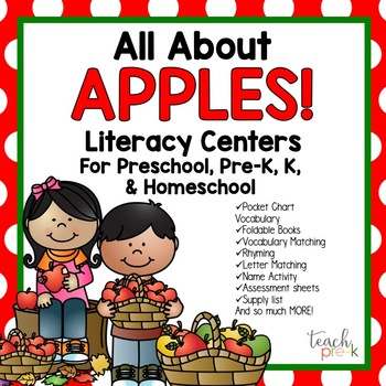All About Apples Literacy Centers for Preschool, Pre-K, K,