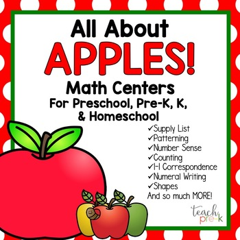 All About Apples Math Centers for Preschool, Pre-K, K, & H