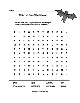 All About Bats Word Search (Grades 1-3)