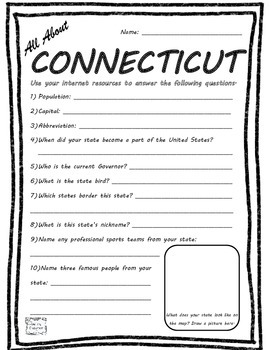 All About Connecticut - Fifty States Project Based Learnin