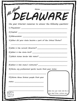 All About Delaware - Fifty States Project Based Learning W