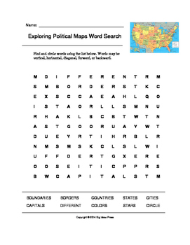 Exploring Political Maps Word Search (Grades 4-5)