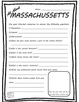All About Massachusetts - Fifty States Project Based Learn