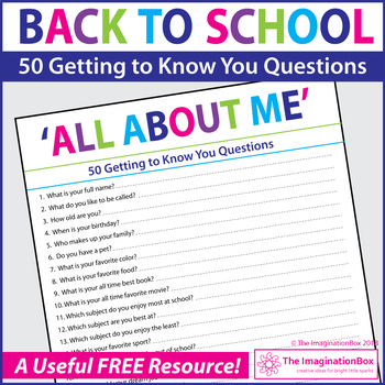 All About Me, Back to School Student Survey 50 free questi