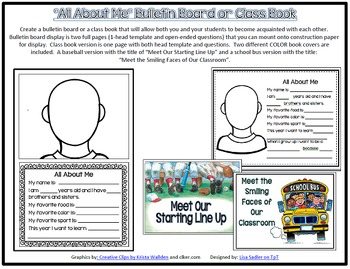 All About Me Bulletin Board or Class Book