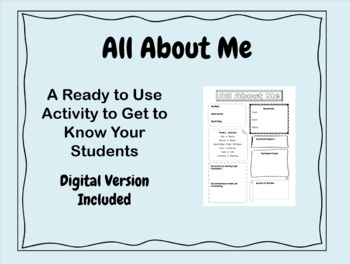 All About Me - First Day of School Activity