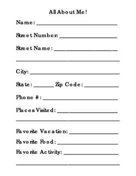 All About Me Form Name Address and Phone Number Favorite T