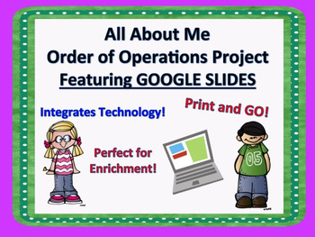 All About Me Math Project Order of Operations Google Class