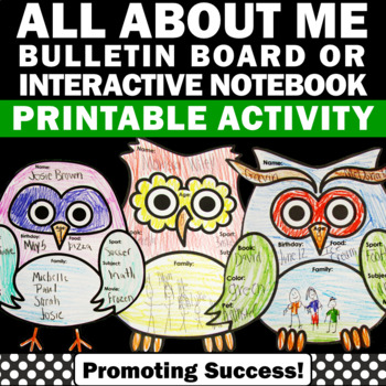 all about me back to school owls activities