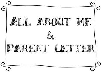 All About Me & Parent Letter