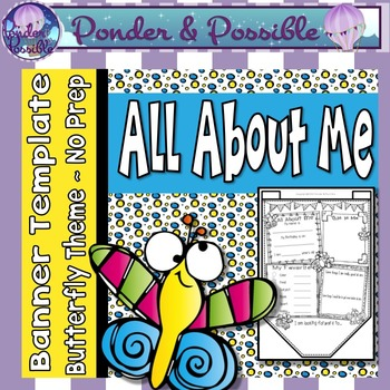 All About Me Bunting ~ Butterfly Theme ~ Great Back to Sch