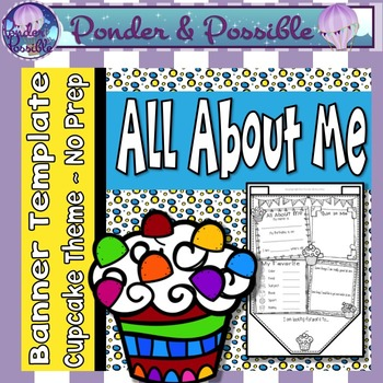 All About Me Bunting ~ Cupcake Theme ~ Great Back to Schoo