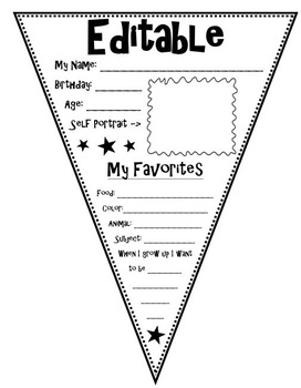 All About Me Pennant Editable
