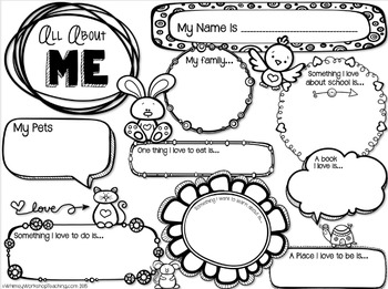 All About Me Printable FREEBIE - Whimsy Workshop Teaching
