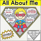 All About Me Superhero Pennants Back to School Activities