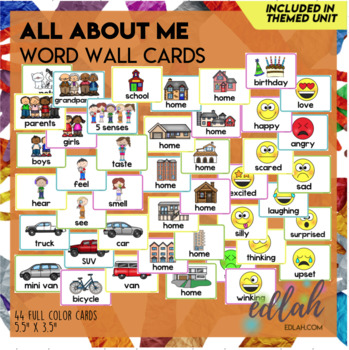 All About Me Word Wall Cards (set of 7)
