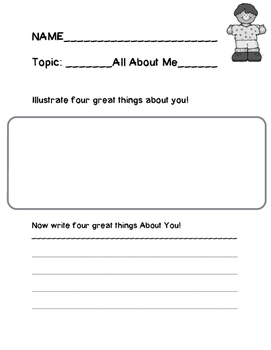 All About Me Writing Assignment K-2nd