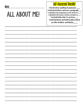 All About Me Writing and Checklist