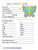 """All About Me"" butterfly themed student questionnaire"